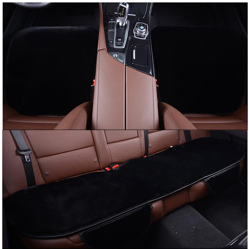 3pcs Car Seat Covers Set Faux Fur Cute Car Interior Accessories