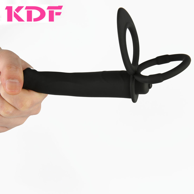 Vibrators for Men Double Penetration Strapon Anal Dildo Vibrating Ring  Penis Black Silicone Strap On Penis Anal Plug Sex Toys