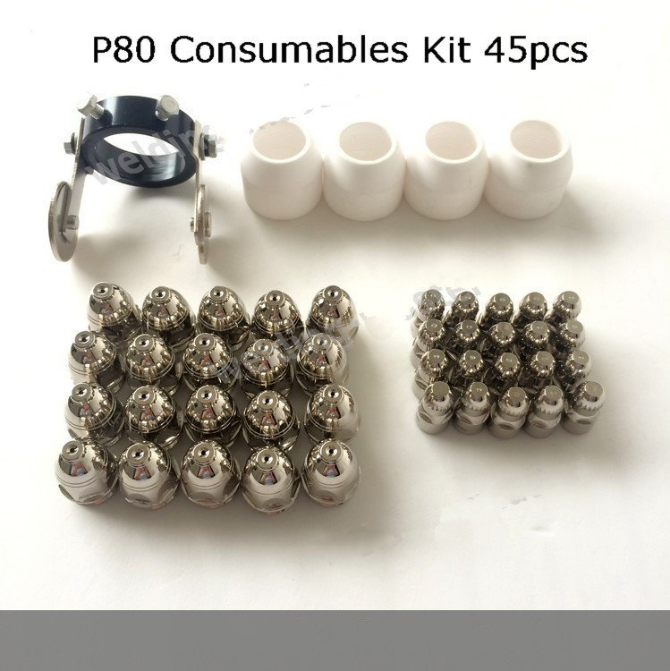 Panasonic P80 Electrode Nozzle 1.5 Shiled Guide Wheel Spacer Kit 45pcs Air Plasma Cutting Machine Cutter Torch Comsumables panasonic feimate p80 nozzle 1 5 mm electrode 70a 80a air plasma cutting torch consumables 100pcs