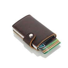 Wholesale New Metal Men ID Card Holder Aluminium Credit With RFID Blocking Pu Leather Mini Magic Wallet