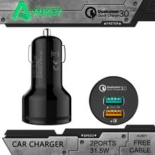 AUKEY Para Qualcomm Cargador Rápido 3.0 9 V 12 V 2 Puertos Mini usb car charger for iphone 6 s ipad samsung htc xiaomi qc2.0 Compatible