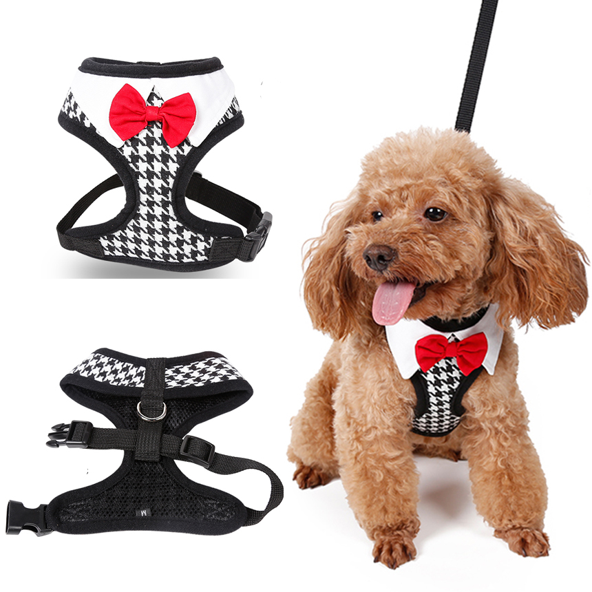 Gentleman Dog Collars And Harnesses Black Plover Bow Pet Leashes Accessories For Puppy Small Animal Chihuahua Yorkie Toy Terrier