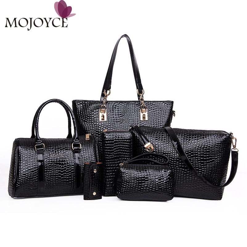 6pcs/set Women Bag Luxury Crocodile Pattern Handbag Composite Bag Women Handbags+Women Crossbody Messenger Bags+Wallet and Purse 3d frog print ladies handbag women lovely note pattern handbags handbag messenger bag purse multifuction bags