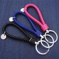 15 Colors Fashion PU Leather Rope Woven Keychain Metal Keychain Men Women Key Holder Chain Ring Car Llaveros Bag Pendant Charm