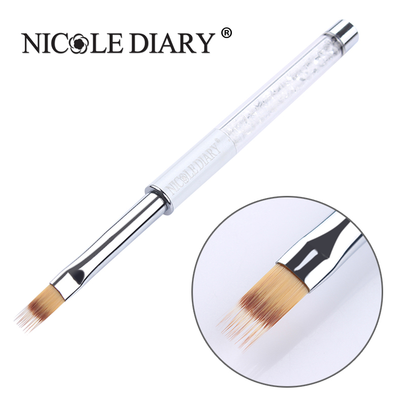 1 Pc Gradient Painting Pen Drawing Brush White Rhinestone Handle Manicure Nail Art Tool