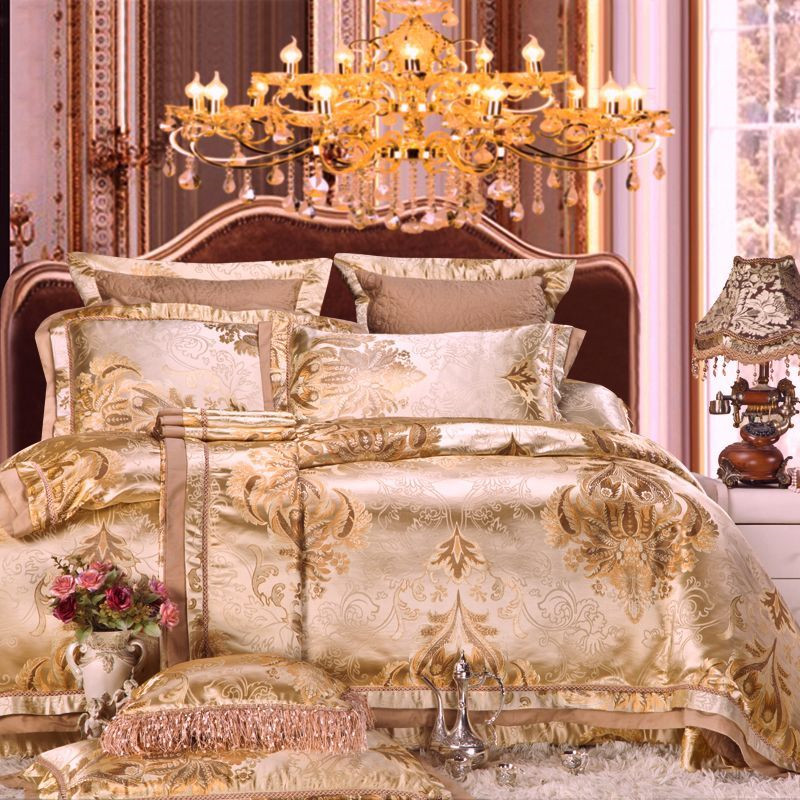 Luxury gold stain jacquard bedding set queen king size for Bride kitchen queen set
