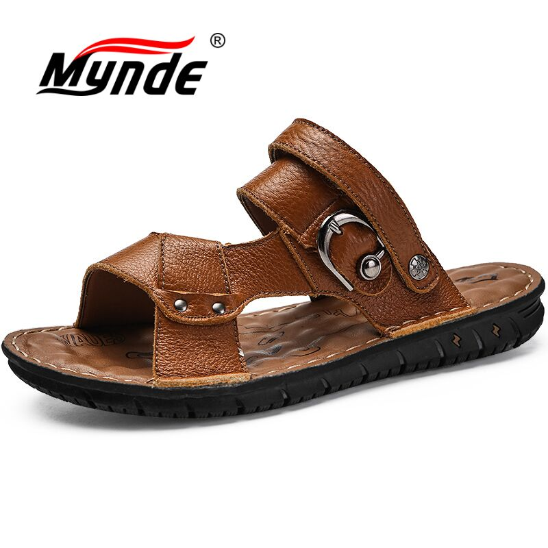 MYNDE Summer Cow Genuine Leather Men Sandals High Quality Breathable Male Beach Shoes Gladiator Plus Size 38-46 Men Shoes