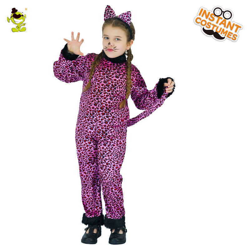 fc66b5509c71 Girls Purple Leopard Costumes attach with Tail Children Animal Cosplay  Party Lovely Little Leopard Imitation Fancy Clothing-in Girls Costumes from  Novelty ...
