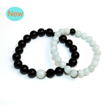 Free Shipping 8 10mm Couples Elastic cord Charm Natural Stone Black Agat Beads Bracelets For Women Men Best Friend BB-050 цены