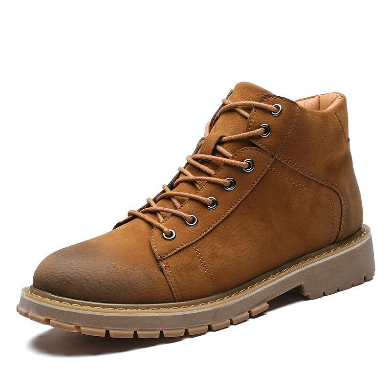 LettBao New Leather Shoes Men Winter Boots for Men Lace up Chelsea Boots Ankle Boot Zapatos De Hombre Men:s Safety Shoes