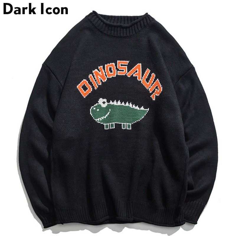 Image 3 - Dinosaur Lovely Sweater Men 2018 Winter Pullover Men's Sweaters Oversized Boy Student Sweater Black Khaki-in Pullovers from Men's Clothing