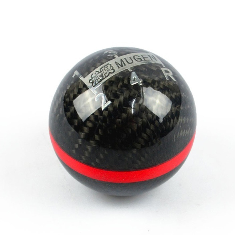Universal Genuine Carbon Fiber Mugen Shift Knob Five / six Speed ​​Manual Automatic Spherical Gear Shift Knob For Honda Acura / TOYOTA