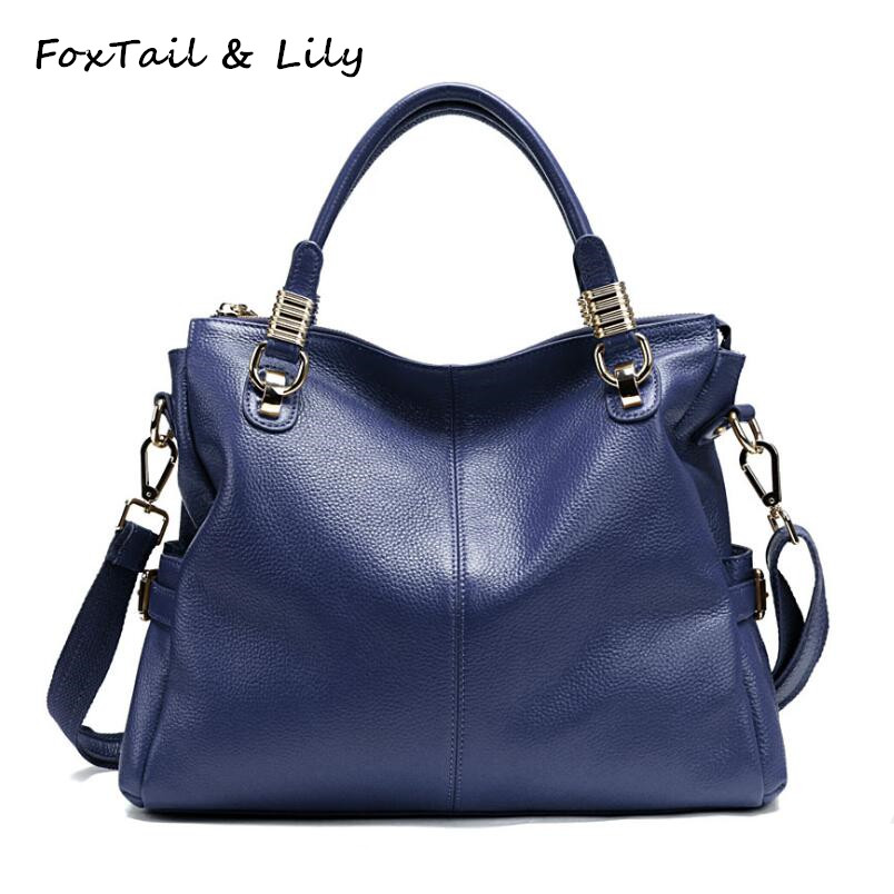 FoxTail & Lily Ladies Soft Cowhide Genuine Leather Shoulder Bag High Quality Luxury Handbags Women Bags Designer Crossbody Bags foxtail