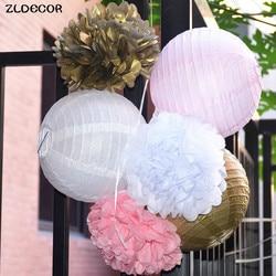 Zldecor 6pcs set gold pink white paper lanterns tissue paper pom poms wedding decor party supplies.jpg 250x250