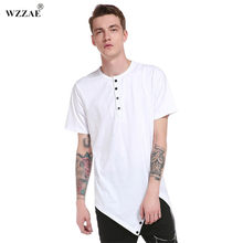 f9fc33a62 Extended T Shirt Men Hip Hop Black T-shirt 2017 Longline Extra Long Tee  Shirt For Male Button Tops Over Size Streetwear Tshirt