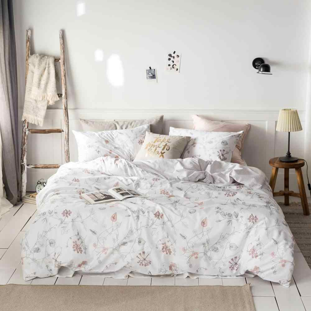 2019 Light Pink Flowers Leaves Bed Cover Duvet Cover Set Cotton Bedding Set Bedlinens Twin Queen King Flat Sheet Fitted Sheet