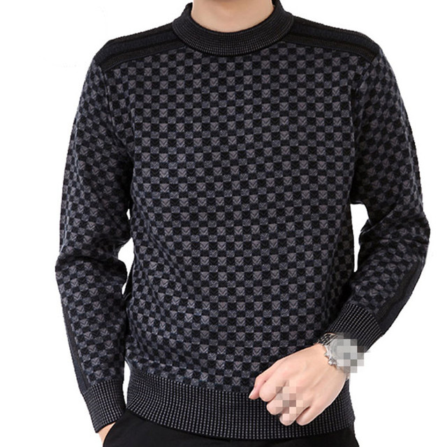 BB-C1236 2018 autumn winter new middle age men's wear fashion plaid big size round neck loose knitted sweater cheap wholesale