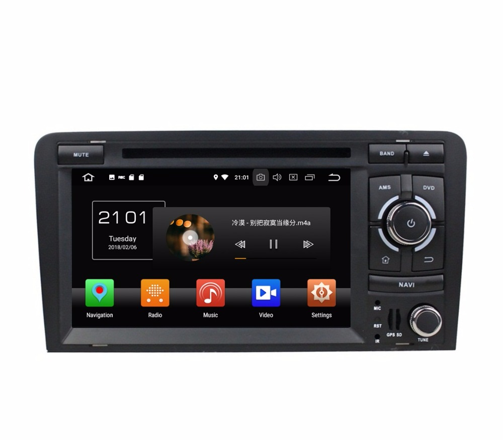 Android 8.0 Octa Core 2 din 7 Car Audio DVD Radio GPS for Audi A3 S3 RS3 2002-2011 With 4GB RAM Bluetooth WIFI 32GB ROM OBD