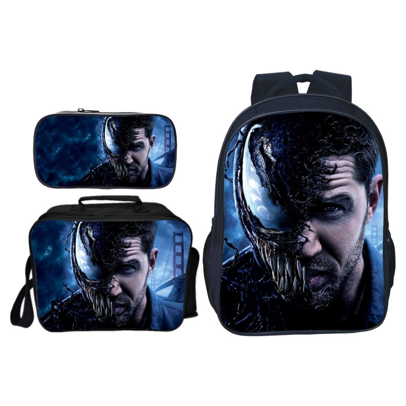 New Arrivals 3pcs/set Printing Hero Venom Kids Baby School Bags Spiderman Suit Bag Cartoon Children Backpacks for Boys Schoolbag Сумка