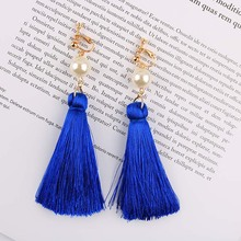 Long Big Tassel Clip On Earrings 8 Color For Female Non Pierced Exaggerated Simulated Pearl Dangle Fringe Clip Ear Gift Jewelry