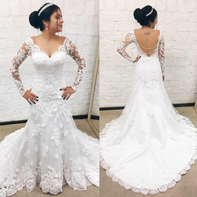 White/Ivory long Sleeves mermaid Wedding Dresses Plus Size bridal dress backless Applique lace Wedding Gowns Vestido De Novia