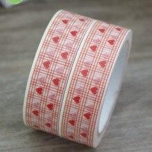 2016 New 1x Red Colored Love Heart Symbol Tartan Japanese Washi Masking Tape Pegtinas Scrapbooking Decor
