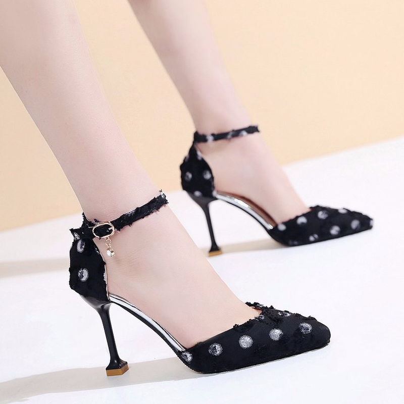 2019 New Tip fine with cloth dot bag with high heel clear heels sandals in High Heels from Shoes
