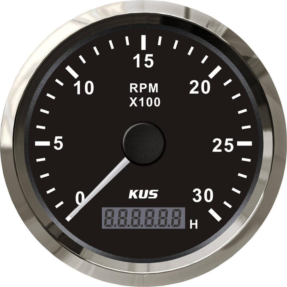 KUS Diesel Engine Tachometer RPM Gauge REV Counter 0-3000RPM With Digital  Hourmeter
