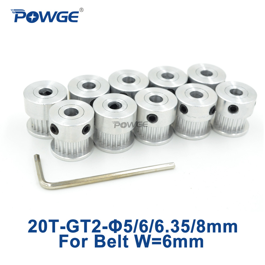 POWGE GT2 Timing Pulley 20 teeth Bore 5mm 6mm 6.35mm 8mm for Width 6mm GT2 synchronous belt 2GT Belt pulley 20teeth 20T 10pcs