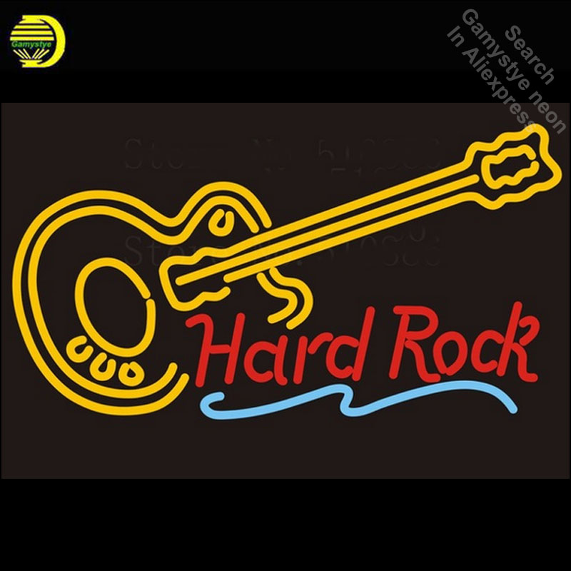 Custom Signage NEON SIGNS For Hard Rock Guitar Music GLASS Tube BAR PUB Signboard Display Decorate Store Shop Light Dropshipping custom signage neon signs pizza beer real glass tube bar pub signboard display decorate store shop light sign 17 14