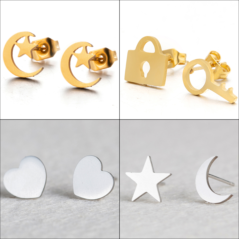 New Romantic Small Gold Silver Color Star Moon Lovely Heart Shape Stud Earrings Women Stainless Steel Ear Stud Girlfriend Gifts