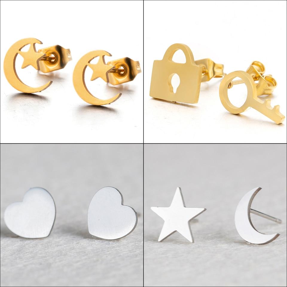 New Romantic Small Gold Silver Color Star Moon Lovely Heart Shape Stud Earrings Women Stainless Steel Ear Stud Girlfriend Gifts