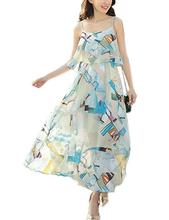 Yfashion Women Fashionable Bohemia Style Chiffon Sleeveless Long Dress Stylish High-waist Braces Beach Party Wear
