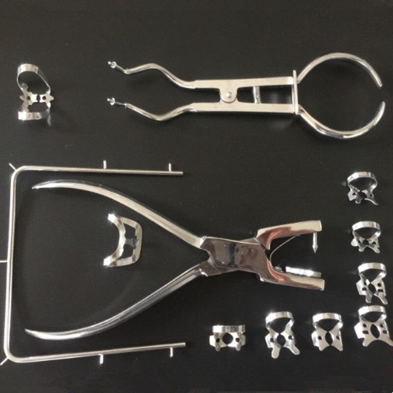1 Set Teeth Care Dental Rubber Dam Set Perforator Puncher Pliers For Dentist Orthodontic Lab Device Instrument Equipment 12Pcs