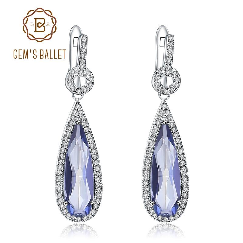GEM S BALLET 925 Sterling Silver Fine Jewelry For Women Classic Natural Iolite Blue Mystic Quartz