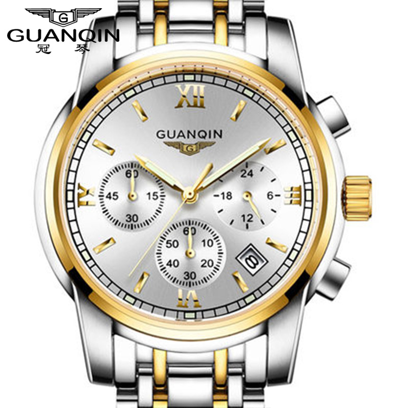GUANQIN relogio masculino Fashion Business Men Luxury Brand Quartz Watch Mens Sport Watches Chronograph Luminous Wristwatch relogio masculino chronograph mens watches top brand sinobi luxury fashion business quartz watch man sport waterproof wristwatch
