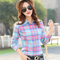 2016 HotSale Women Shirt Blouses Plus Size Spring Autumn Flannel Cotton Long Sleeve Casual Plaid Shirt Female Loose College Tops