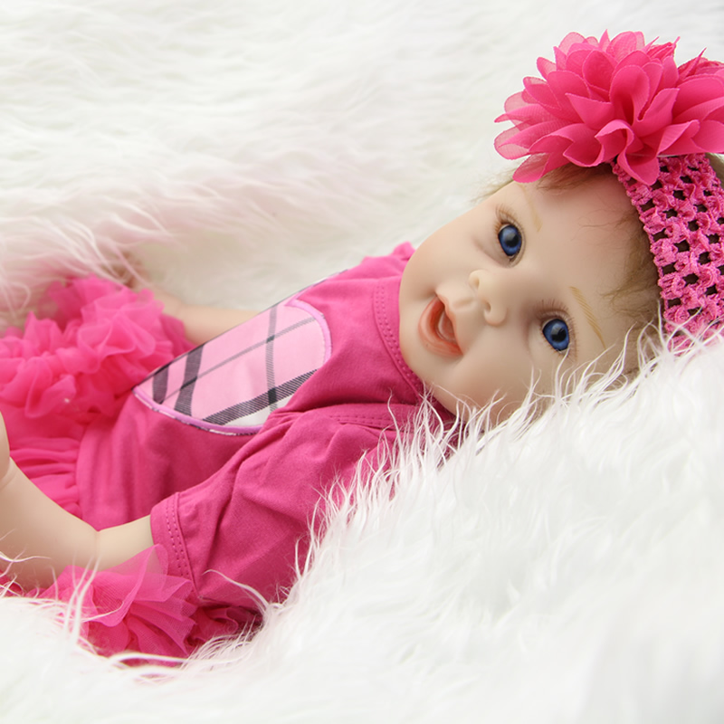 Rooted Mohair 22 Inch Lifelike Reborn Girl Baby Dolls Real Lifelike Silicone Soft Newborn Babies Kids Play House Toy oasis mohair