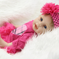 Rooted Mohair 22 Inch Lifelike Reborn Girl Baby Dolls Real Lifelike Silicone Soft Newborn Babies Kids Play House Toy