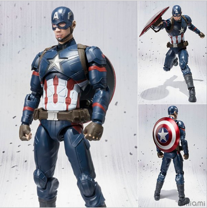 Hot Toys Civil War SHF Figuarts Marvel Avengers Captain America PVC Action Figure Collectible Model Toys 16CM With Retail Box image