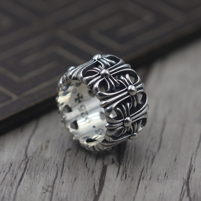 Thai Silver Retro Personality Punk Wind Cross Stone Tombstone Ring S925 Sterling Silver Jewelry Ring s925 sterling silver vintage six buddhist mantra rotating personality ring ring and old thai silver jewelry