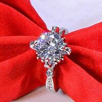 Оригинальный 2 ct 925 стерлингового серебра цветок Блум Свадьба любовник кольцо ювелирные изделия для женщин (JSA)