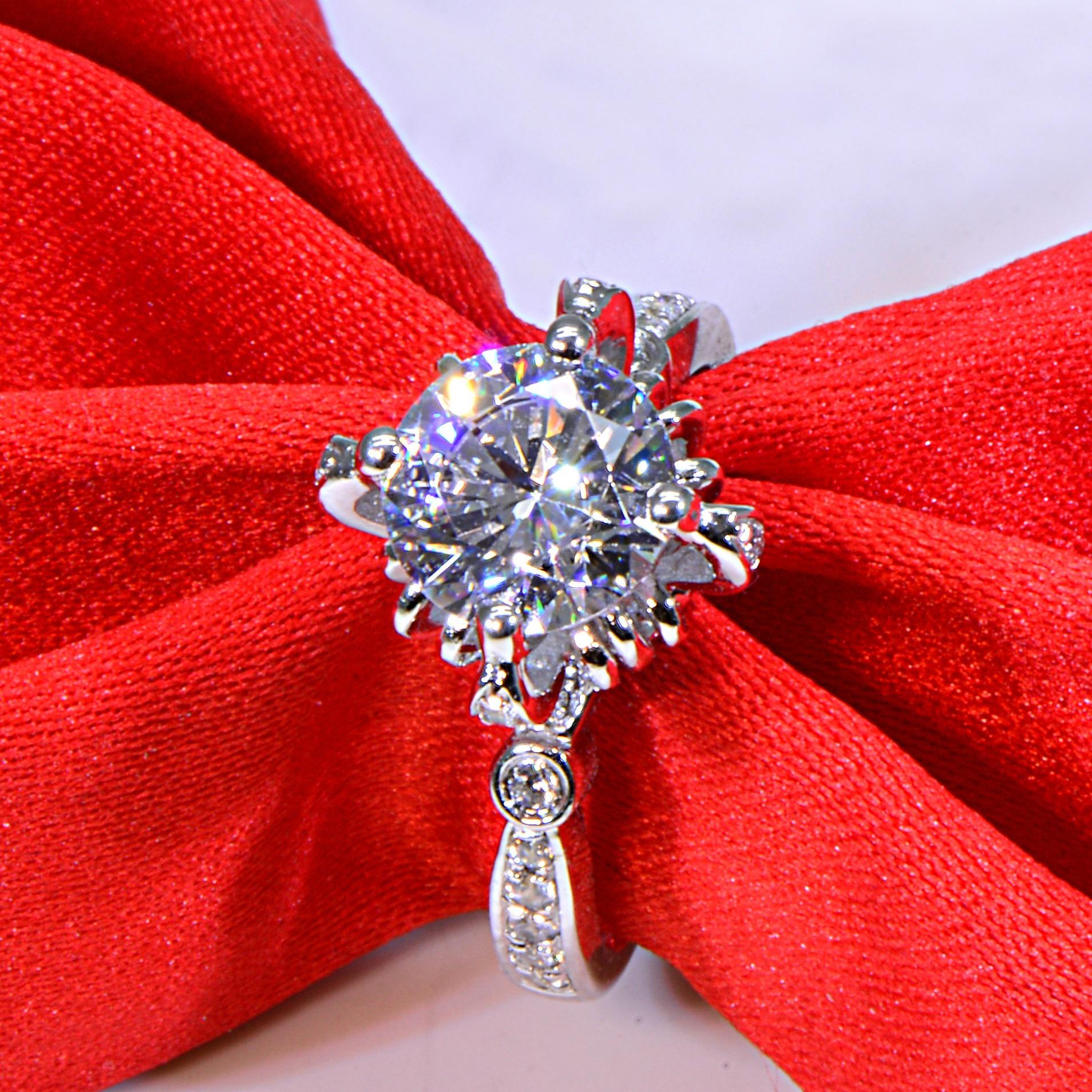 Original 2 ct 925 sterling silver flower bloom wedding lover ring jewelry for women (JSA)Original 2 ct 925 sterling silver flower bloom wedding lover ring jewelry for women (JSA)
