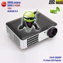 2016 Nuevo Alto Brillo 5600 lúmenes WiFi WiFi Smart TV proyector Full HD 1080 P de Vídeo Juegos de Cine En Casa Proyector LED proyector