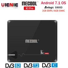 MECOOL KI PRO DVB Amlogic Caixa de TV KI PRO S2 + T2 S905D Quad 2G + 16G Apoio DVB T2 & S2/DVB T2/KIPRO DVBS2 Set Top Box Android TV Box