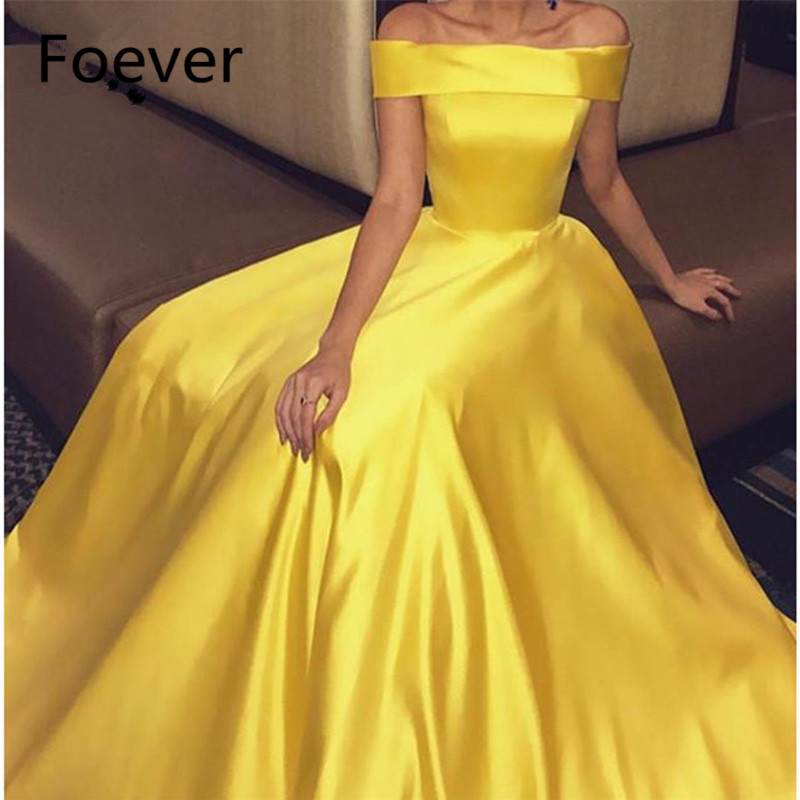 2019 Beatue Off Shoulder Evening Dresses with Pockets Short Sleeve Sweep Train A Line Yellow Satin