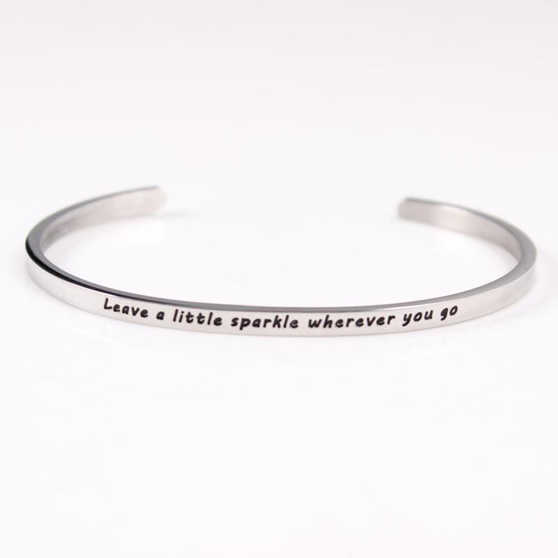 stainless men women cuff message quote itm bracelet stamped open steel bangle love