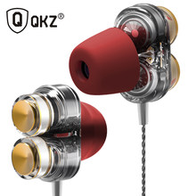 Genuine QKZ KD7 Earphones Dual Driver Sport Earphone 3.5mm Jack Headset Hands Free with Mic Music Earphone for All Phone Pc(China)