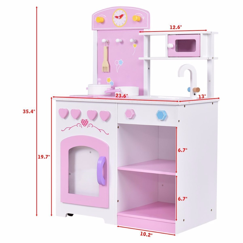 Aliexpress.com : Buy Goplus 2 In 1 Kids Kitchen Play Set With Chair Wood  Pretend Toy Cooking Set Children Cabinet Toddler Cook Playset Gifts  TY570397 From ...