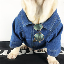 Small Medium Dog clothes Cool Denim Jean Jacket Warm Two Feet Dog Clot